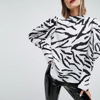 ASOS Top with Extreme Sleeve in Zebra Print at asos.com