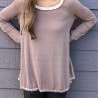 Starry Eyes Toffee Long Sleeve Waffle Knit Ribbed Thermal