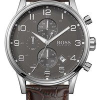 Men's BOSS Stainless Steel & Leather Chronograph Watch, 44mm