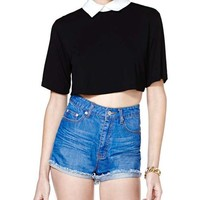 Short Sleeves Black T-shirt With White Lapel Collar