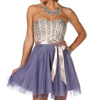 Colette- Champagne Homecoming Dress