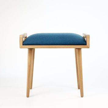 Stool / Seat / stool / Ottoman / bench made of solid oak table, oak legs, Upholstered in Blue cool wool
