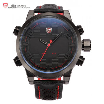 Shark Sport Watch LED Black Red Stainless Steel Case Analog Digital Dual Movement Tag Timezone Leather Strap Men Clock / SH203