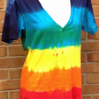 Rainbow Tie-dye T-shirt, Deep V-Neck, Unisex Sizes XS-XL