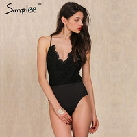 Simplee Apparel Black lace up backless sexy bodysuit 2016 Spring elastic deep v neck women jumpsuit rompers Casual cami tops