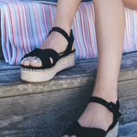 Cloud Nine Black Suede Platform Espadrilles