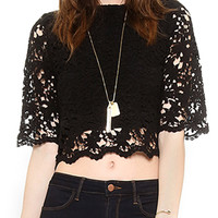 Black Crochet Lace Cropped Top