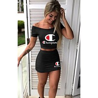 Champion tide brand female print letter sexy skirt set two-piece Black