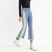 Women Casual Fashion Multicolor Flares Pants Jeans Trousers