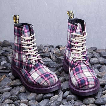 Women Purple/Green Plaid Fashion Lace-Up Ankle Boots