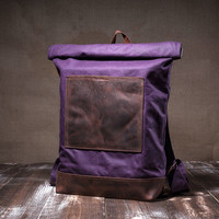 Waxed canvas backpack - roll top backpack - carry all bag- hipster backpack - waxed backpack - purple bag -waterproof canvas -leather straps