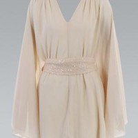 Beige Bell Sleeved Tunic Dress with Sequin Belted Waist