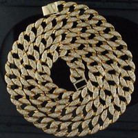 """Hip Hop Bling Iced out 30"""" Simulated Diamond 15mm Cuban Link Chain"""
