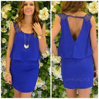 Gables Royal Blue Tiered Lace Strap Dress