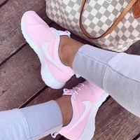 NIKE Roshe Stylish Women Men Classic Running Sport Shoes Sneakers Pink(White Hook) I