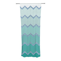 "Monika Strigel ""Avalon Mint Ombre"" Aqua Green Decorative Sheer Curtain"
