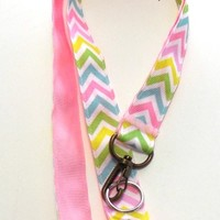 Chevron Ribbon Lanyard ID Holder