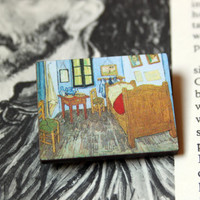 Vincent van Gogh Bedroom in Arles (The Bedroom), 1888 // Wooden Photograph Pin // Wooden Art Pin