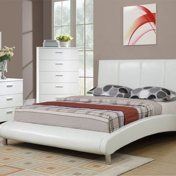Poundex F9241 5 pc allison ii collection modern style white faux leather upholstered queen bed set