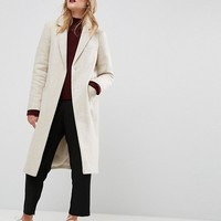 ASOS Slim Coat with Pocket Detail in Texture at asos.com