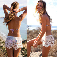 SIMPLE - Popular Fashionable Lace Sexy Beach Shorts Pants b2785