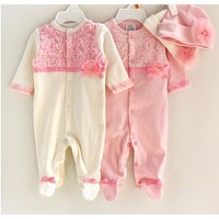 Princess Style born Baby Girl Clothes Girls Lace Rompers+Hats Baby Clothing Sets Infant Jumpsuit Gifts