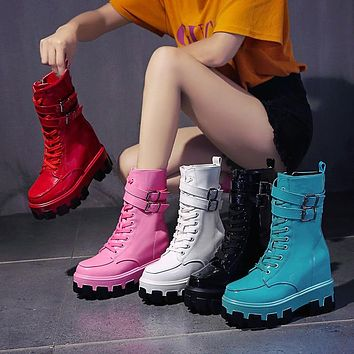 Women Fashion Candy Color PU Leather Platform Ankle Boots