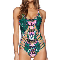 Printed Bandage Swimsuit Hollow Out Halter One Piece Swimsuit