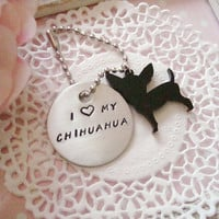 I Heart My Chihuahua Hand Stamped Keychain Black Or White Chihuahua Charm Made To Order