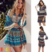 ZOGAA Plus Size 4XL Summer Boho Dress Women Retro Floral Printed V Neck Casual Dress Vintage Loose Beach Vocation Dresses