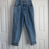 Vintage Pleated Jeans, High Waisted Denim Jeans, Baggy High Waist 29, Womens Size 14, Bugle Boy Front Pleat, Mom Jeans Boyfriend 80s 90s