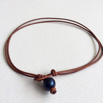 Black Pearl Leather Choker Necklace Handmade Freshwater Pearl Genuine Light Brown Leather Bohemian Jewelry Double Leather Necklace Choker