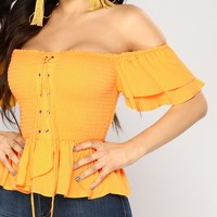 Anaith Off Shoulder Top - Yellow