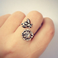 silver bee and rose ring