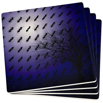 Halloween Bats in the Full Moon Light Set of 4 Square Sandstone Coasters