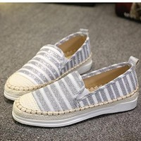Stripe Color Match Knitting Weave Slip On Flat Mary Jane Loafers