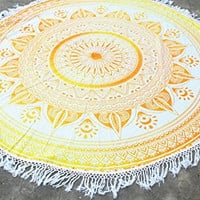 Orange Yellow Ombre Bohemian Yoga Beach Wall Fringe Round Tapestry
