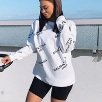 Balenciaga fashion casual lady tilt-letter printed long-sleeved round collar blouse