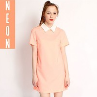 Hearts and Bows Coral Annika Pointed Collar Dress   ARK