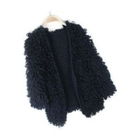 Black Pulled Wool Cardigan
