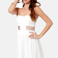 By the Lace-Sides White Lace Dress