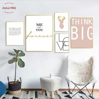 900D Nordic Poster Wall Pictures For Living Room Love and Deer Picture Wall Art Posters and Prints NOR054