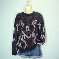 Vintage 70s Ski Sweater / Soft Knit Sweater / Unisex / Thick Sweater