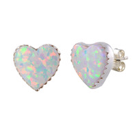 Sterling Silver Opal Gemstone Earrings Iridescent Pearl 11mm Heart