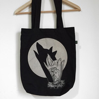 Tattoo print. Tote bag with Wolf shadow and full moon. hand shadow puppet traditional tattoo illustration. Screen printed handmade design.