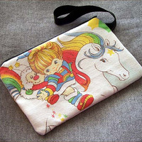 Rainbow Brite Clutch Handbag Zipper Pouch Wristlet repurposed Ariel