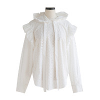 Frilled Shoulder Broderie Anglaise Hooded Blouse