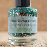 Green Glitter Polish -  The Glam Grinch 3 Free Indie Franken Polish silver green glitter FREE Shipping to USA holidays winter xmas