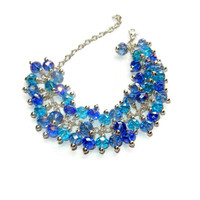 Blue Crystal Cluster Beaded Bracelet