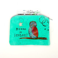 Owl collage, Handpainted Small Zipper Pouch - Wallet, mixed media original, Passport Holder, canvas zipper pouch sm219